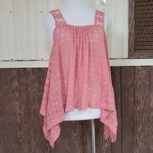 Staring at Stars coral baby doll lace top size XS